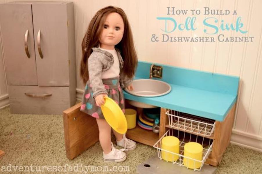 Build a Doll Sink and Dishwasher Cabinet using free plans.