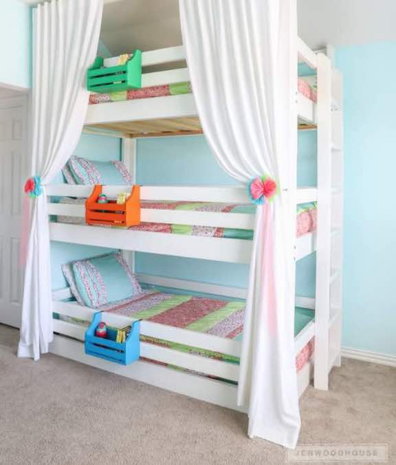 bunk beds,triple bunk beds,diy,free woodworking plans,free projects,do it yourself