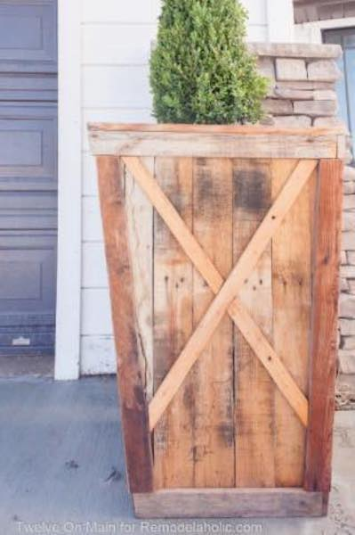 Build a Planter Box With X Detail using free plans.