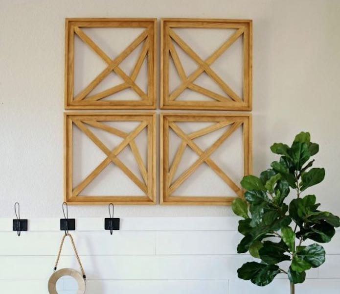 Free plans to build your own Geometric Wall Art.