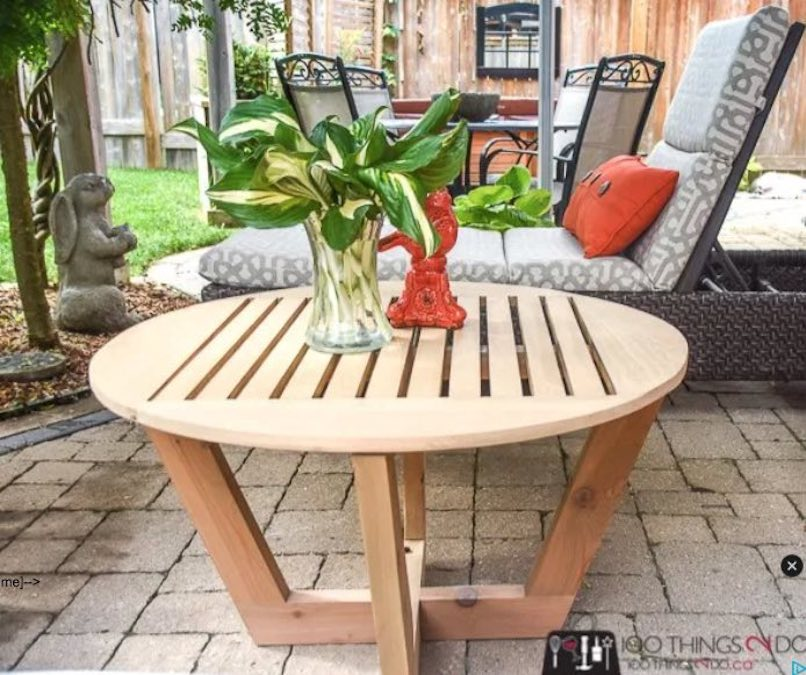 Build a Round Patio Coffee Table using free plans.