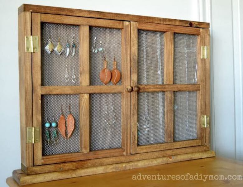 Build a Tabletop Jewelry Organizer using free plans.