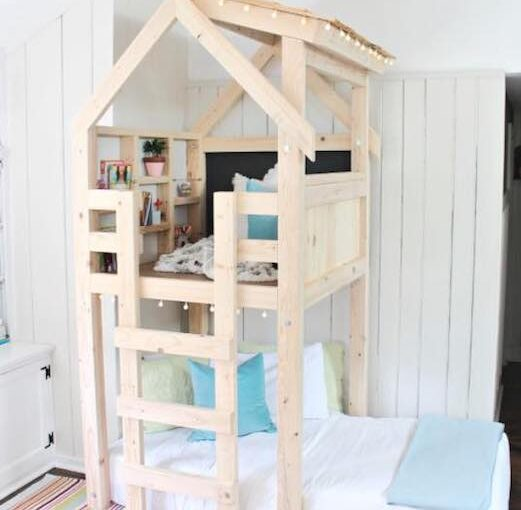 Free plans to build Over Bed Indoor Playhouse.