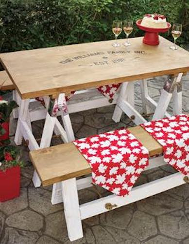 Build a Picnic Table with Benches using free plans.
