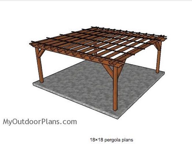 Free plans to build a Pergola 18 x 18 Feet.
