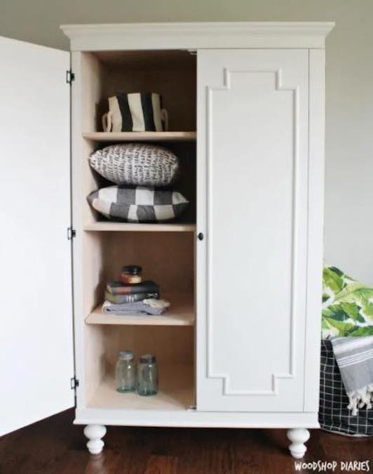 wardrobe cabinet,storage cabinet,armoire,diy,free woodworking plans,free projects,do it yourself