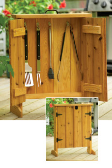 Free plans to build a BBQ tool cabinet.
