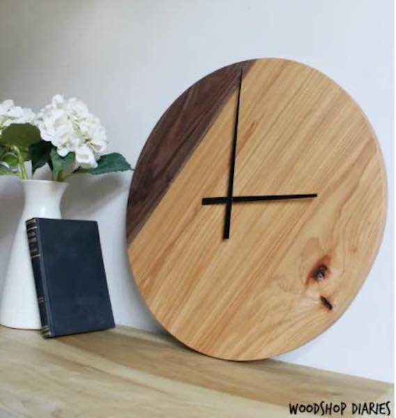 Build a Two Tone Clock using free woodworking plans.