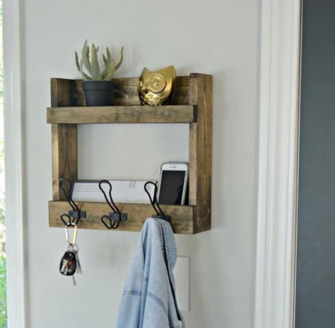 Build a Coat Rack with Shelves using free plans.