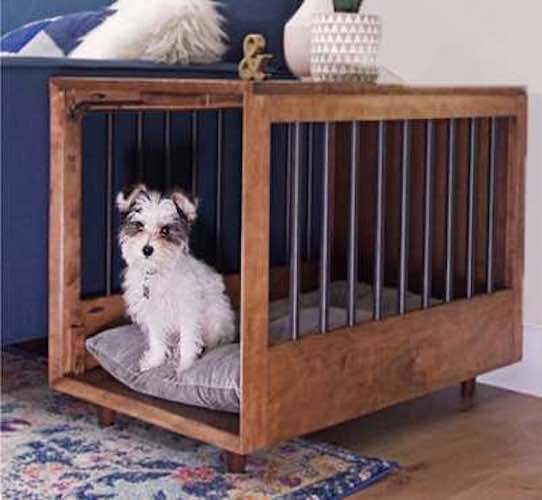 Build an MCM Dog Crate End Table using free plans.