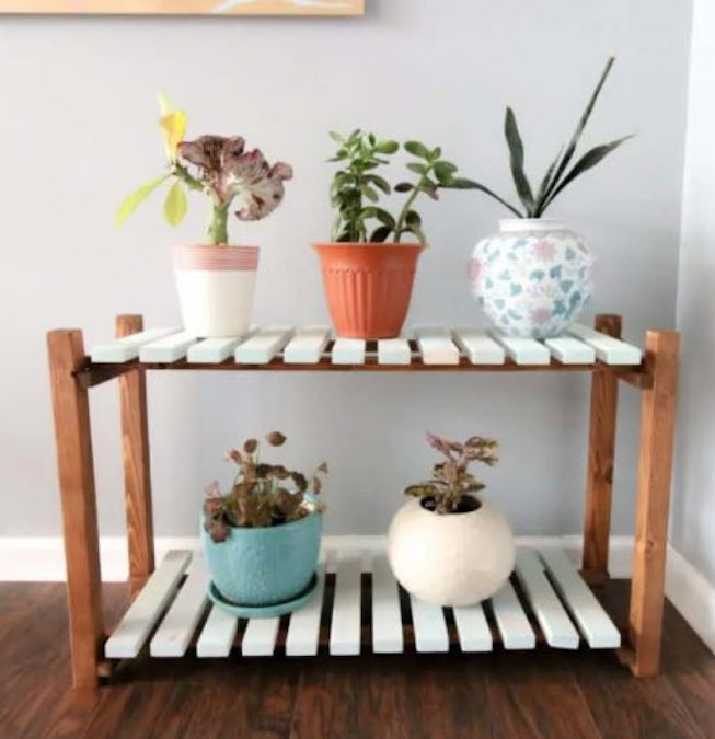 Build a Slatted Plant Stand using free plans.