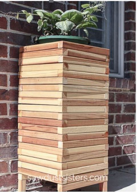 Build this Easy Modern Planter using free plans.