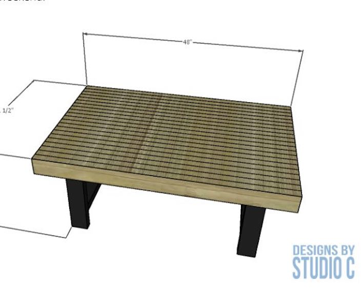 Build a Coffee Table with Slatted Top using free plans.