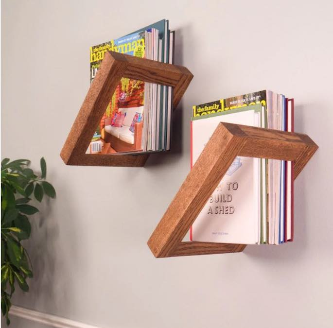 Build fun Floating Bookshelves using free plans.