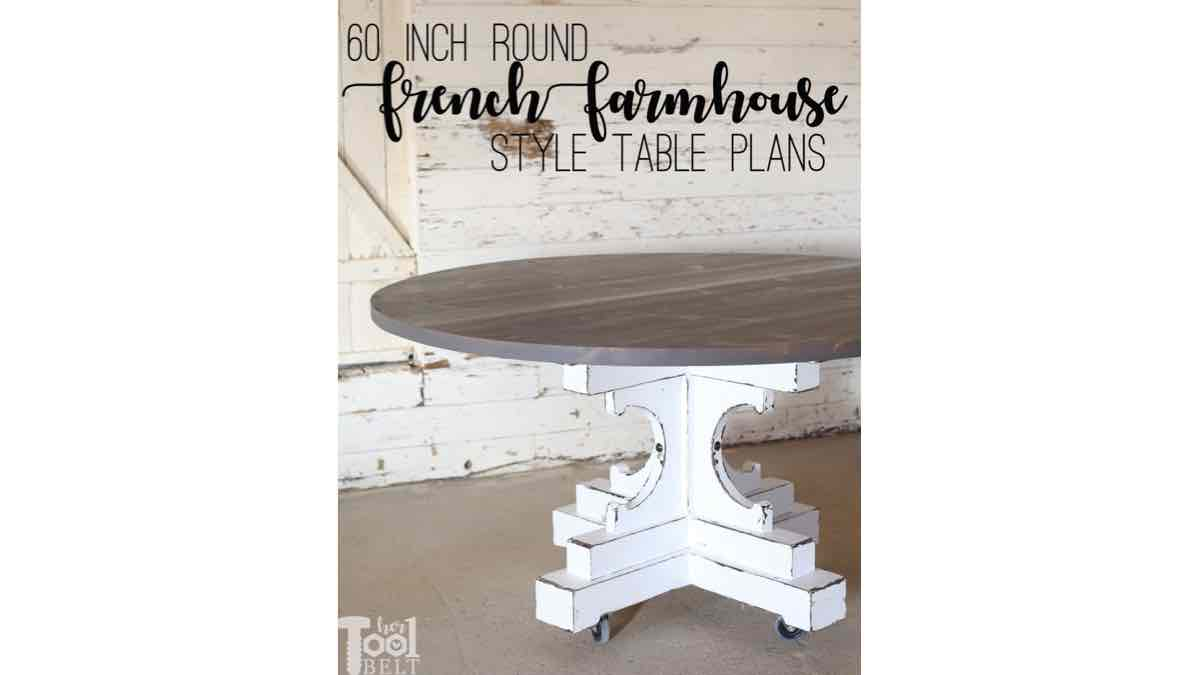 farmhouse tables,round tables,round farmhouse tables,diy,free woodworking plans,free projects,do it yourself
