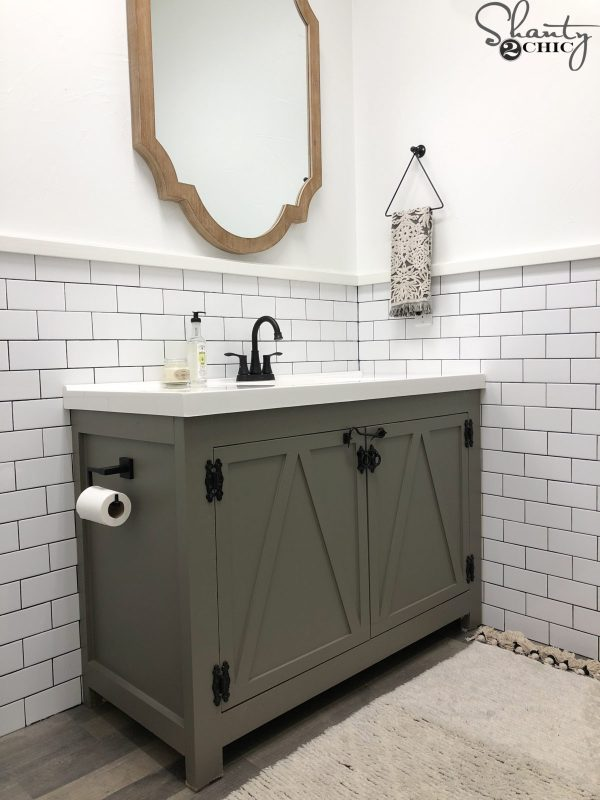 Build your own Farmhouse Bathroom Vanity.