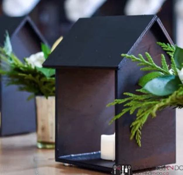Build House Shaped Candle Holders using free plans.