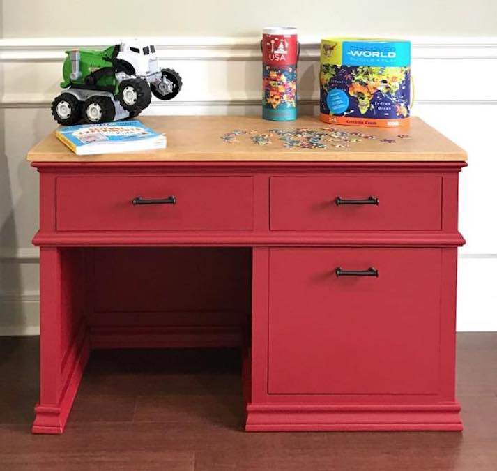 Build a Kids Desk with Storage using free plans.