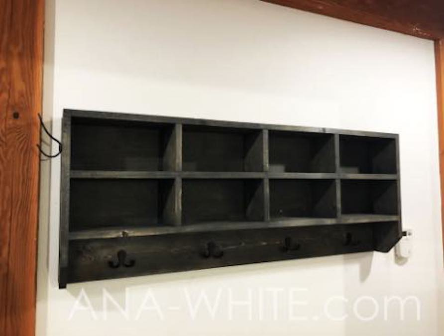 Free plans to build a Coat Rack with Cubby Organizers.