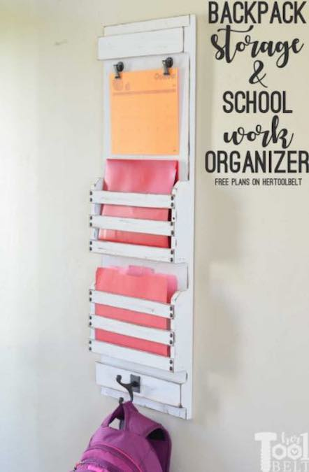 Free plans to build Backpack Storage and School Organizer.