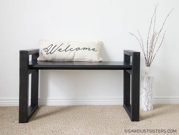 Free plans to build a Small Modern Bench.