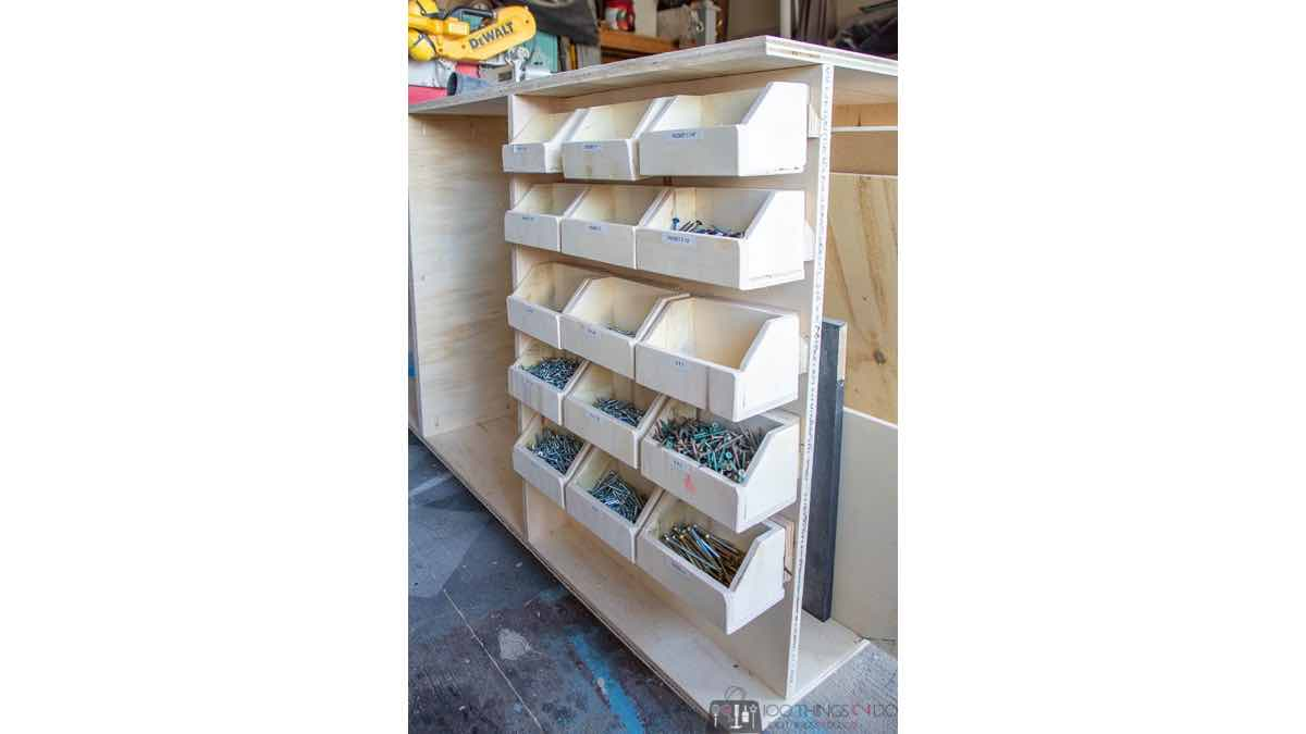 Free workshop plans to build a small parts bin