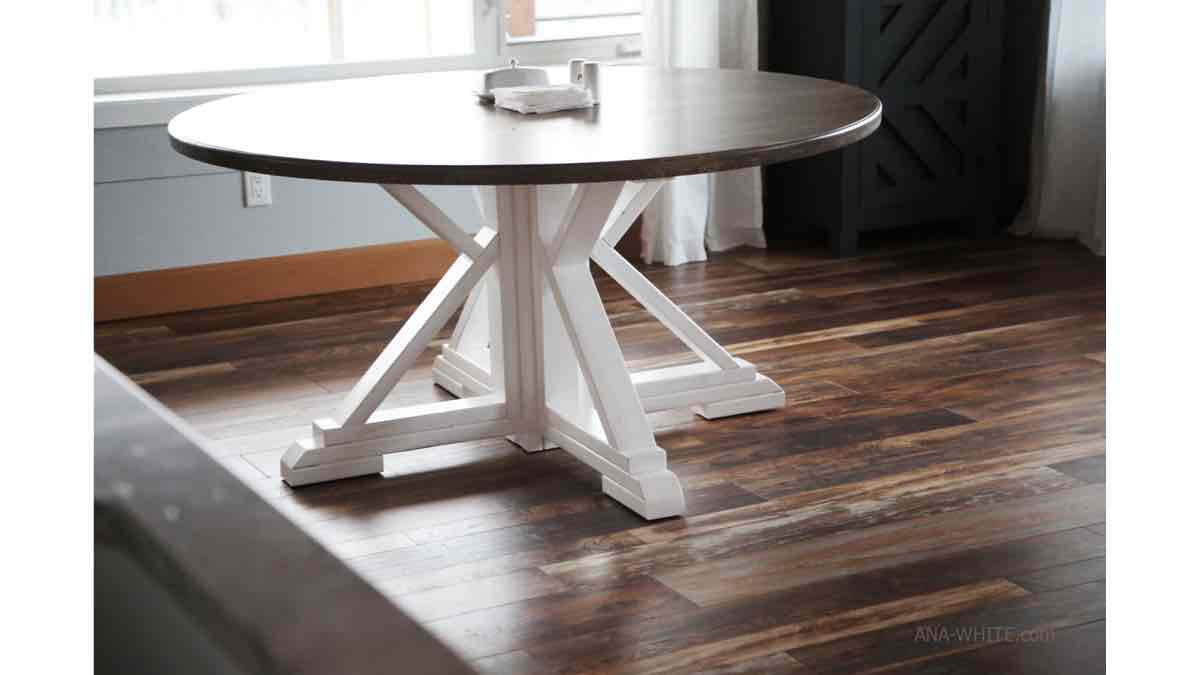 farmhouse dining tables,round dining tables,diy,free woodworking plans,free projects,do it yourself