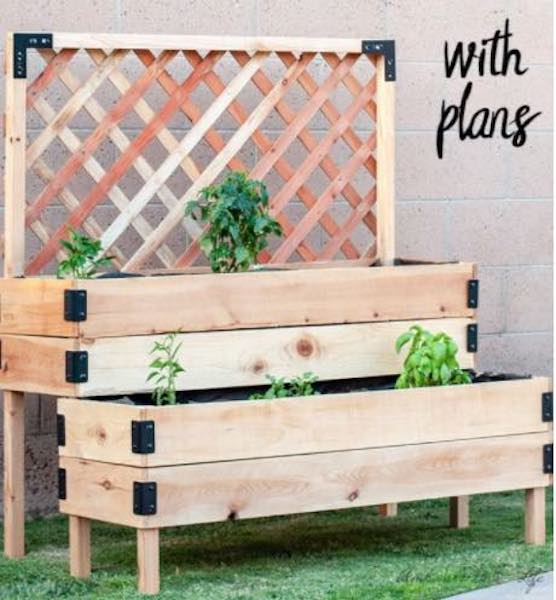 Free plans to build a Tiered Raised Garden Bed.