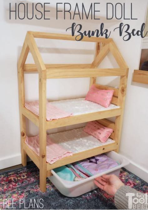 Build a Doll Bunk Bed using free plans.