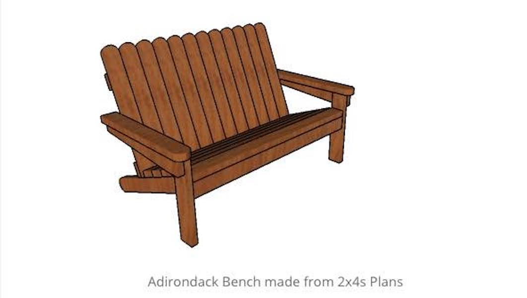 Free plans to build an Adirondack Bench.