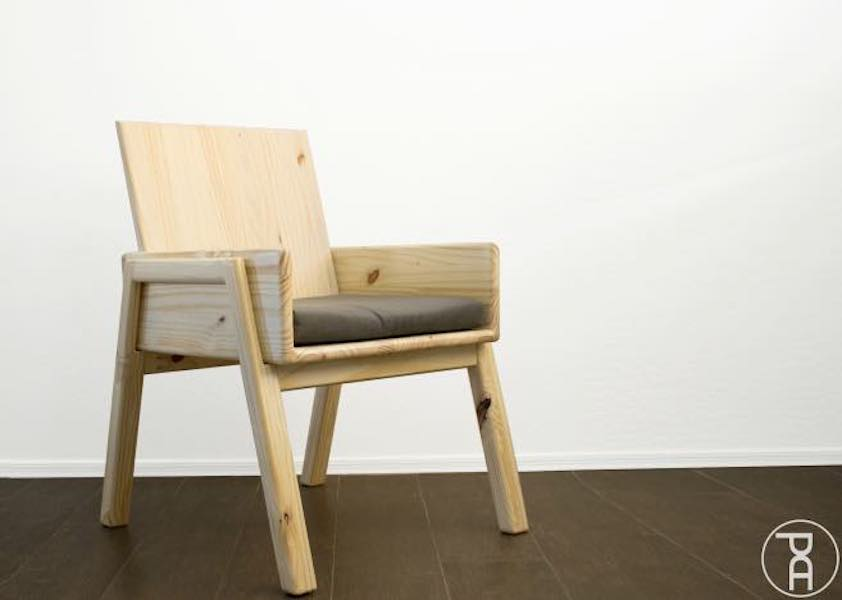 Build an Arm Chair from Stair Tread using free plans.