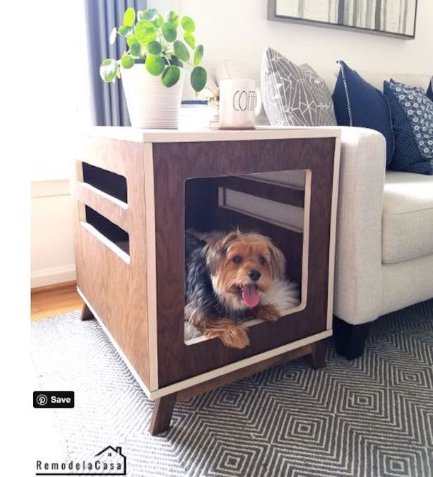 Build a Dog Crate/Side Table using free plans.