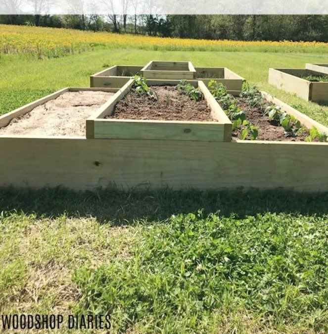 Free plans to build a Raised Garden Bed 6 x 6 Feet.
