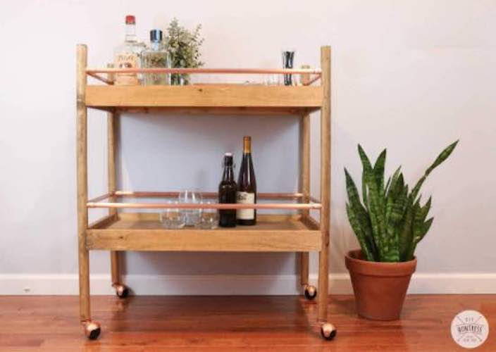 Build a Bar Cart from Copper and Wood using free plans.