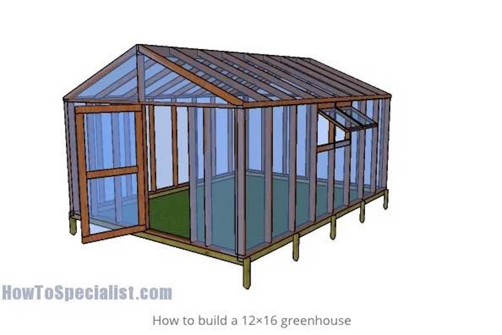 Free plans to build a Greenhouse 12 x 16 feet.