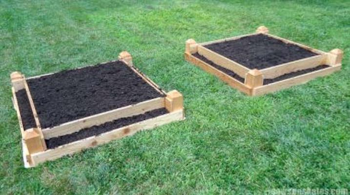 Free plans to build Tiered Raised Garden Beds.