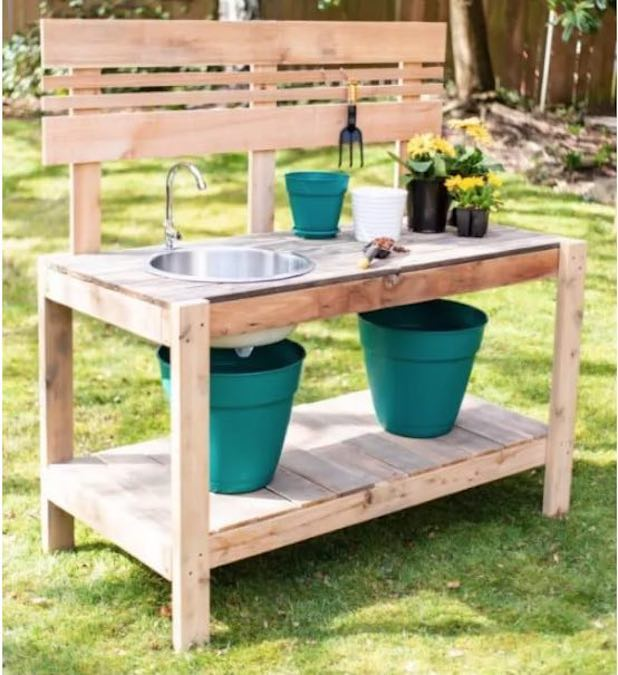 Build a DIY Potting Bench with Sink using free plans.