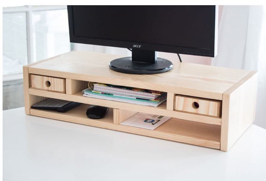 Build a Monitor Riser Desk Organizer using free plans.
