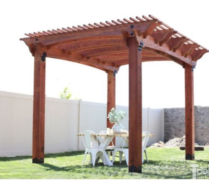 Build a Pergola with Arch Detail using free plans.