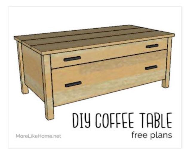 Free plans to build a Coffee Table with Drawers.
