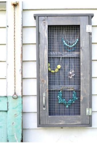 Build a Jewelry Wall Cabinet using free plans.