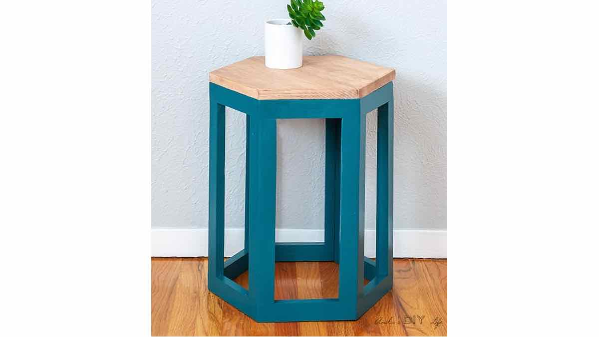 hexagon end table, diy plans, free woodworking plans