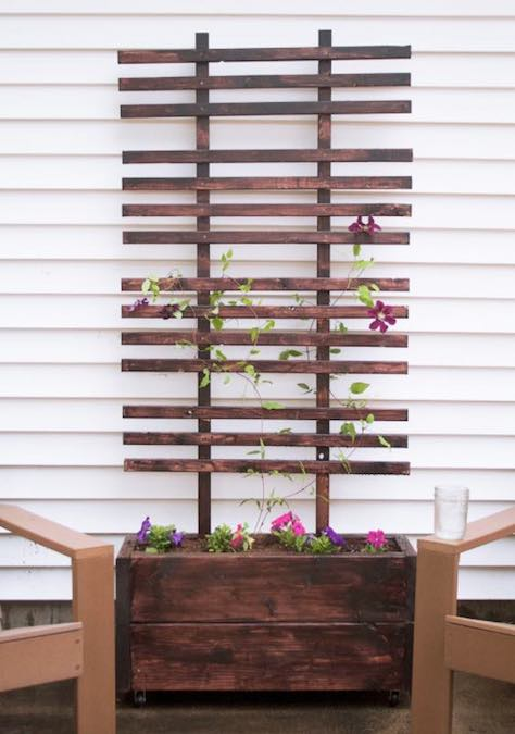 Free plans to build a Planter Box with Trellis.