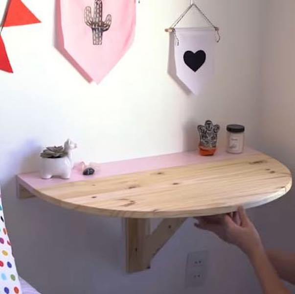 Free plans to build a Fold Down Desk for a Child.