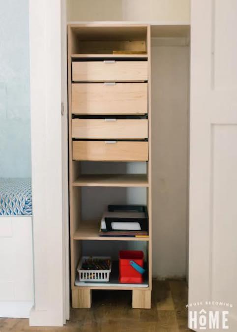 Build a Freestanding Closet Organizer using free plans.