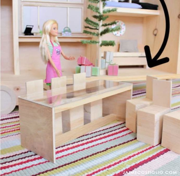 Build Convertible Dollhouse Furniture using free plans.
