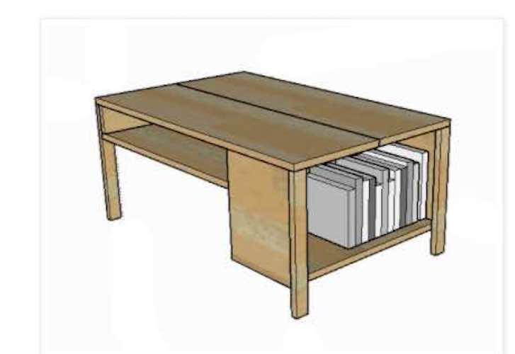 Free plans to build a Coffee Table with Built In Bookshelf.