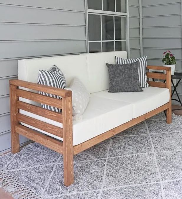 Build an Outdoor Sofa using free woodworking plans.
