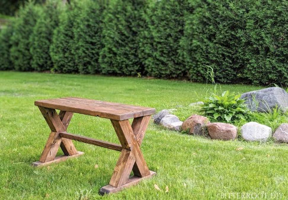 Build a Farmhouse Outdoor Bench with free plans.