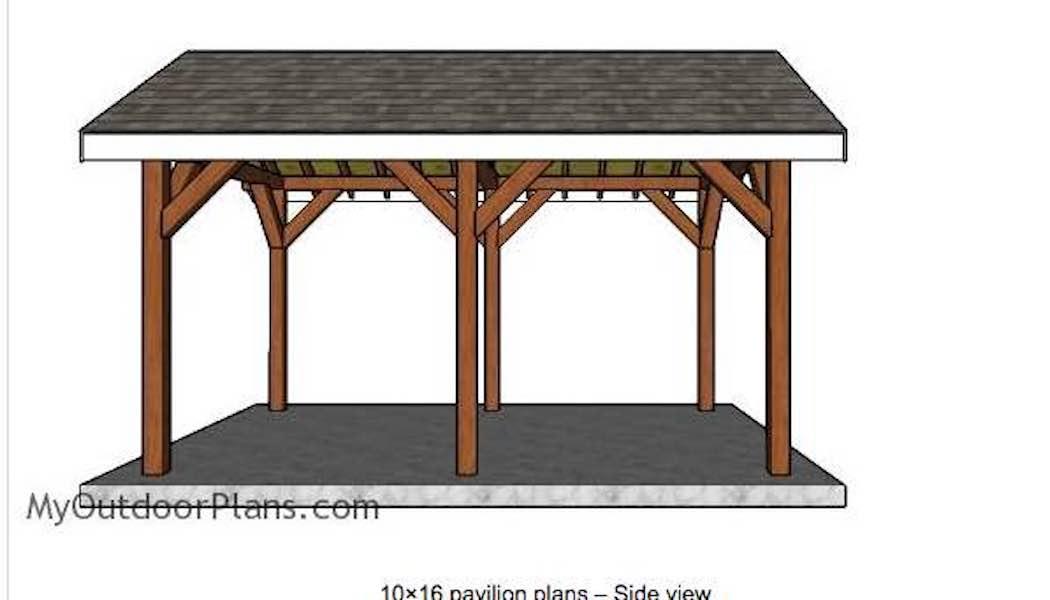 Build a 10 x 16 Foot Pavilion using free plans.